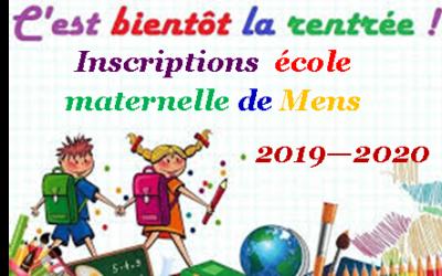 Inscriptions Rentrée scolaire 2019